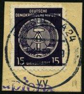 DIENSTMARKEN A D 21IIXI BrfStk, 1954, 15 Pf. Schwarzgrauviolett, Type II, Wz. 2XI, Auf Briefstück, Marke Fehlerhaft