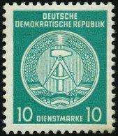 DIENSTMARKEN A D 19IIXII *, 1954, 10 Pf. Bläulichgrün, Type II, Wz. 2XII, Falzrest, Pracht