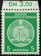 DIENSTMARKEN A D 18IIXII **, 1954, 5 Pf. Smaragdgrün, Type II, Wz. 2XII, Feinst, Gepr. Jahn, Mi. 250.-