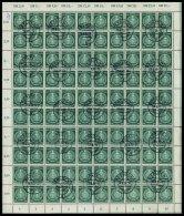 DIENSTMARKEN A D 10Y O, 1954, 25 Pf. Schwarzopalgrün Im Bogen (100), Stehendes Wz., Teils Angetrennt, Pracht, Mi. 8