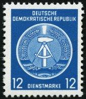 DIENSTMARKEN A D 5xNF (*), 1954, 12 Pf. Grünlichblau, Amtlicher Nachdruck Ohne Aufgedruckten Stempel, Ungummiert, P