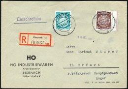 DIENSTMARKEN A D 4,17 BRIEF, 1955, 84 Pf. Lebhaftrötlichbraun Mit 10 Pf. Zusatzfrankatur Auf Einschreibbrief, Prach