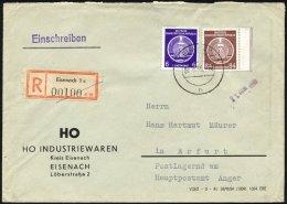 DIENSTMARKEN A D 2,17 BRIEF, 1955, 84 Pf. Lebhaftrötlichbraun Mit 6 Pf. Zusatzfrankatur Auf Einschreibbrief, Pracht