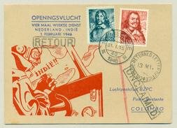 Nederland / Nederlands Indië - 1946 -Skymaster Openingsvlucht Nederland - Indië Naar Colombo