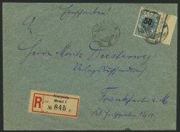 MEMELGEBIET 191 BRIEF, 1923, 50 C. Auf 1000 M. Grünlichblau, Rechtes Randstück Als Einzelfrankatur Auf Einschr