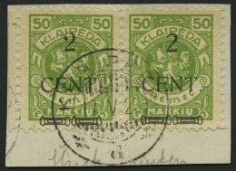 MEMELGEBIET 177 W 2 BrfStk, 1923, 2 C. Auf 50 M. Gelbgrün, Type III Und II Zusammen Im Waagerechten Paar, Prachtbri