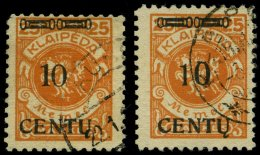 MEMELGEBIET 169AII/AIII O, 1923, 10 C. Auf 25 M. Lebhaftrötlichorange, Type AII Und AIII, 2 Prachtwerte, Gepr. Dr.