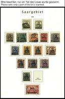 SAMMLUNGEN, LOTS O, Fast Nur Gestempelter Sammlungsteil Saargebiet Von 1920-1934 Mit Einigen Mittleren Werten Auf Leucht