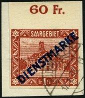 SAARGEBIET D 11IU BrfStk, 1922, 1 Fr. Diagonaler Aufdruck, Type I, Oberrandstück, Ungezähnt, Mit Rückdati