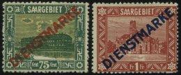 SAARGEBIET D 10,11I *, 1922, 75 C. Und 1 Fr., Type I, üblich Gezähnt, 2 Prachtwerte, Mi. 90.-