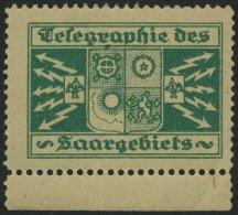 SAARGEBIET **, Grüne Vignette Telegraphie Des Saargebiets, Pracht