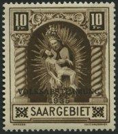 SAARGEBIET 194II *, 1934, 10 Fr. Volksabstimmung Mit Abart Weißer Strich Durch Innenfeld Der 0, Falzreste, Pracht,
