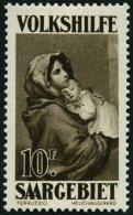 SAARGEBIET 141 **, 1928, 10 Fr. Volkshilfe, Pracht, Gepr. Hoffmann BPP, Mi. 130.-