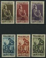 SAARGEBIET 128-33 **, 1928, 40 C. - 3 Fr. Volkshilfe, 6 Prachtwerte, Mi. 232.-