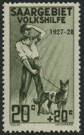 SAARGEBIET 122VI **, 1927, 20 Pf. Volkshilfe Mit Abart Rahmen Rechts Unten Gebrochen, üblich Gezähnt Pracht, M
