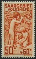 SAARGEBIET 106I *, 1926, 50 C. Volkshilfe Mit Abart Farbpunkt Links über Plus-Zeichen, Falzreste, üblich Gez&a