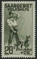SAARGEBIET 104III **, 1926, 20 Pf. Volkshilfe Mit Abart Apostroph Zwischen L Und K In Volkshilfe Retuschiert (weiß