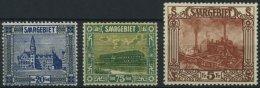 SAARGEBIET 88,93,97 **, 1922, 20 C., 75 C. Und 5 Fr. Landschaftsbilder III, Normale Zähnung, 3 Prachtwerte, Mi. 175