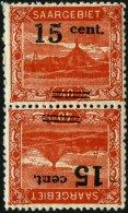 SAARGEBIET 73AKdrIII **, 1921, 12 C. Auf 40 Pf. Schlackenhalde Im Kehrdruckpaar, Type III, Pracht, Gepr. Ney, Mi. 200.-
