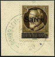 SAARGEBIET B 31BI BrfStk, 1920, 3 Pf. Braun Bayern Sarre, Oberste Gitterlinie Rechts Verkürzt Sowie Spiess Auf Der