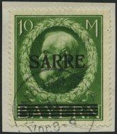SAARGEBIET 31 BrfStk, 1920, 10 M. Bayern-Sarre, Prachtbriefstück, Gepr. Burger, Mi. (320.-)