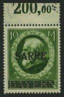 SAARGEBIET 31 **, 1920, 10 M. Bayern-Sarre, Kleine, Wohl Herstellungsbedingte Gummiunregelmäßigkeiten, Pracht