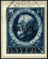 SAARGEBIET 30II BrfStk, 1920, 5 M. Bayern-Sarre Mit Abart Kleines A (Feld 15), Prachtbriefstück, RR!, Fotoattest Bu