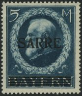 SAARGEBIET 30 **, 1920, 5 M. Bayern-Sarre, Waagerechte Leichte Wellung Sonst Pracht, Gepr. Burger, Mi. 2500.-