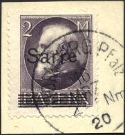 SAARGEBIET 28b BrfStk, 1920, 2 M. Schwarzgrauviolett Bayern-Sarre, Prachtbriefstück, Gepr. Burger, Mi. (170.-)