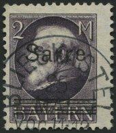 SAARGEBIET 28b O, 1920, 2 M. Schwarzgrauviolett Bayern-Sarre, Feinst (kleine Knitter), Gepr. Burger, Mi. 170.-