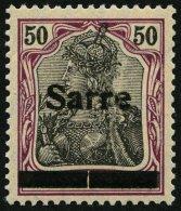 SAARGEBIET 13yIA **, 1920, 50 Pf. Dunkelbräunlichlila/schwarz Auf Orangeweiß, In Der Mitte Senkrecht Geteilte
