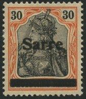 SAARGEBIET 10yI *, 1920, 30 Pf. Dunkelrotorange/schwarz Auf Orangeweiß, Type I, Falzreste, Ein Kurzer Zahn Sonst P