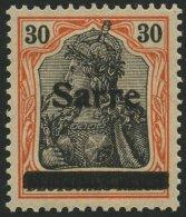 SAARGEBIET 10yI *, 1920, 30 Pf. Dunkelrotorange/schwarz Auf Orangeweiß, Type I, Falzrest, Pracht, Kurzbefund Braun