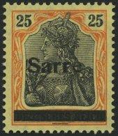 SAARGEBIET 9bIII *, 1920, 25 Pf. Gelborange/schwarz Auf Gelbweiß, Type III, Pracht, Gepr. Braun, Mi. 75.-