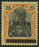 SAARGEBIET 9bI **, 1920, 25 Pf. Gelborange/schwarz Auf Gelbweiß, Pracht, Gepr. Braun, Mi. 90.-