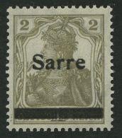 SAARGEBIET 1IIA **, 1920, 2 Pf. Gelbgrau, Type II, In Der Mitte Senkrecht Geteilter Balken, Pracht, Fotoattest Burger, M