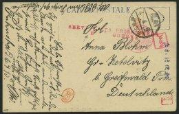 KIAUTSCHOU 1915, Ansichtskarte Aus Dem KFG-Lager FAKUOKA Nach Greifswald, Mit Rotem Lagersiegel SDPGD-Stempel Sowie HAN