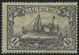 KIAUTSCHOU 36IIA *, 1918, 11/2 $ Schwarzviolettblau, Mit Wz., Kriegsdruck, Gezähnt A, Normale Zähnung, Pracht,