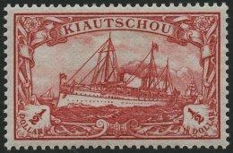 KIAUTSCHOU 24 *, 1905, 1/2 $ Dunkelkarminrot, Ohne Wz., Falzrest, Pracht, Mi. 85.-