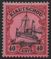 KIAUTSCHOU 23 *, 1905, 40 C. Dunkelrötlichkarmin/schwarz Auf Mattrosarot, Ohne Wz., Falzrest, Pracht, Mi. 120.-