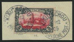 KIAUTSCHOU 17 BrfStk, 1901, 5 M. Grünschwarz/bräunlichkarmin, Ohne Wz., Stempel KIAUTSCHOU, Prachtbriefst&uuml