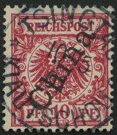 KIAUTSCHOU M 3IIb O, 1901, 10 Pf. Lilarot Steiler Aufdruck, Stempel TSINGTAU KIAUTSCHOU *a, Pracht, Gepr. Jäschke-L
