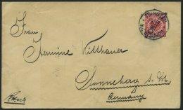 KIAUTSCHOU V 3IIc BRIEF, 1900, 10 Pf.l Rot Steiler Aufdruck, Stempel TSINGTAU KIAUTSCHOU **, Prachtstück Auf Brief