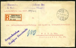 DP TÜRKEI 1917, Feldpost Mil. Miss. A.O.K. 4 Auf Einschreibbrief Der K.u.k. Gebirgshaubitzendivision Marno, Senkrec