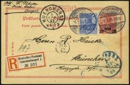 DP TÜRKEI P 7 BRIEF, 1905, 20 PARA Auf 10 Pf. Reichspost Auf Einschreibkarte Von CONSTANTINOPEL Nach München,