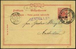 DP TÜRKEI P 3 BRIEF, 1892, 20 PARA Auf 10 Pf., Stempel CONSTANTINOPEL 2, Prachtkarte Nach Amsterdam