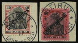 DP TÜRKEI 51/2 BrfStk, 1908, 50 C. Auf 40 Pf.und 100 C. Auf 80 Pf. Diagonaler Aufdruck, 2 Prachtbriefstücke, M