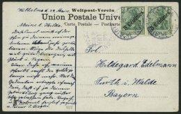 DP TÜRKEI 48 BRIEF, 1908, 5 C. Auf 5 Pf. Diagonaler Aufdruck (2x) Von JAFFA Mit Violettem Nebenstempel TEMPEL-KOLON