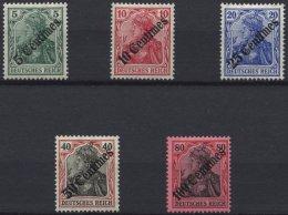 DP TÜRKEI 48-52 *, 1908, Diagonaler Aufdruck, Falzreste, Prachtsatz, Mi. 120.-