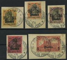 DP TÜRKEI 39/40,42-44 BrfStk, 1905-07, 11/4 Pia., 11/2 Pia. Und 21/2 - 10 Pia., Mit Wz., 5 Prachtbriefstücke